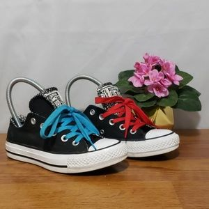 Converse Sz 5 Double Tongue Sneakers blank/white